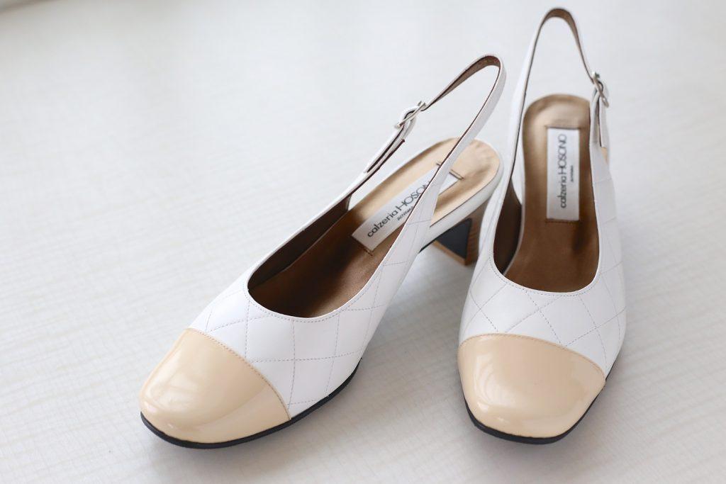 本革靴白ベージュコンビ|サロン美足